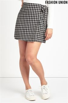 Fashion Union Check Wrap Skirt