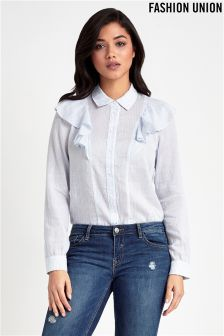 Fashion Union Stripe Frill Shirt