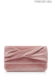 Forever New Blush Velvet Clutch
