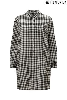 Fashion Union Curve Gingham Check Shirt Dress