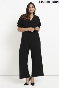 Fashion Union Curve Wrap Frill Front Jumpsuit
