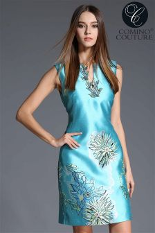 Comino Couture Floral Appliqu'e Dress