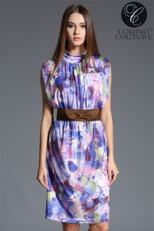 Comino Couture Belted Print Dress