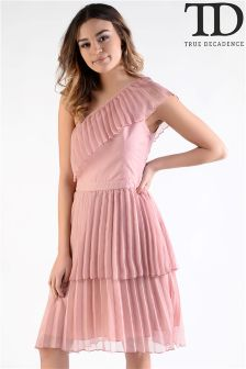True Decadence Pleated One Shoulder Dress