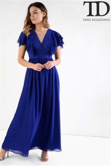 True Decadence Ruffle Sleeve Maxi Dress