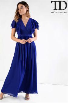 True Decadence Ruffle Sleeve Maxi Dress