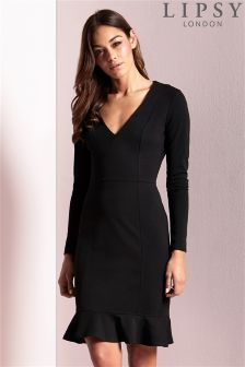 Lipsy Long Sleeve Flute Hem Dress