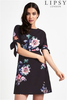 Lipsy Printed Tie Sleeve Dress