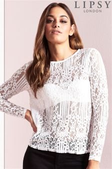 Lipsy Lace Long Sleeve Top