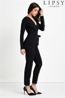 Lipsy Wrap Long Sleeve Jumpsuit