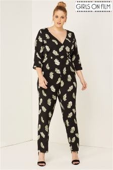 Girls On Film Curve Feather Print Jumpsuit