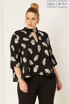 Girls On Film Curve Choker Feather Print Blouse