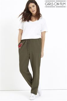 Girls On Film Curve Embroidered Trousers