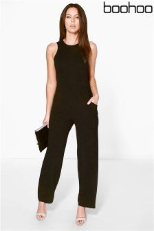 Boohoo Round Neck Textured Jumpsuit