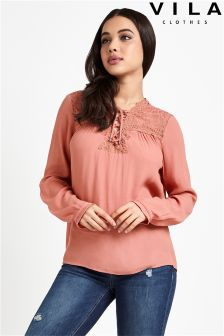 Vila Long Sleeve Lace Yolk Blouse