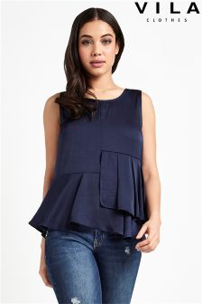 Vila Sleeveless Ruffle Blouse