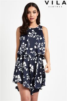 Vila Floral Print Layered Swing Dress