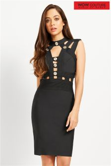 Wow Couture High Neck Caged Bandage Dress