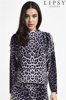 Lipsy Animal Printed Velour Cold Shoulder Top