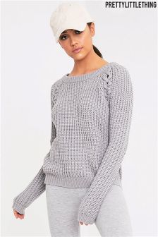 PrettyLittleThing Lace Up Detail Chunky Knit Jumper