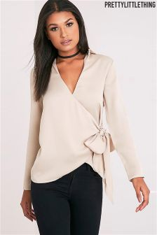 PrettyLittleThing Tie Side Satin Shirt