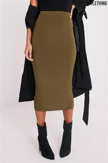 PrettyLittleThing Slinky Long Line Midi Skirt