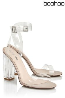 Boohoo Metallic Clear Heel Sandals