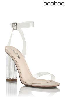 Boohoo Clear Heeled Perspex Sandals