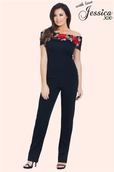 Jessica Wright Embroidered Bardot Jumpsuit
