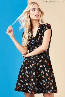 Mela London Wrap Front Printed Dress