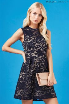Mela London Embossed Overlay Dress