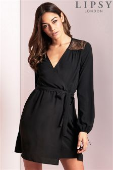 Lipsy Lace Top Wrap Dress