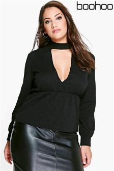Boohoo Plus Choker Peplum Top