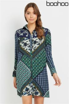 Boohoo Scarf Print Shirt Dress