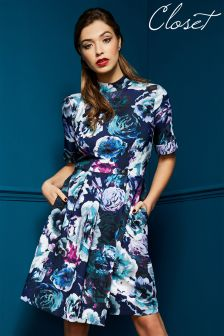 Closet Floral High Neck Dress