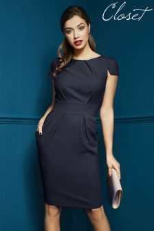 Closet Navy Cap Sleeve Dress