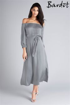 Bardot Off The Shoulder Satin Shift Dress