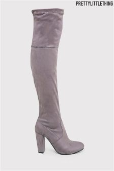 PrettyLittleThing Faux Suede Thigh High Heel Boots