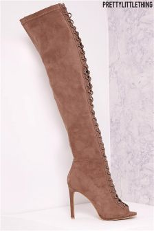 PrettyLittleThing Peep Toe Thigh High Heeled Boots