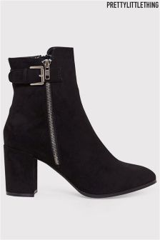 Prettylittlething Faux Suede Buckle Ankle Boots