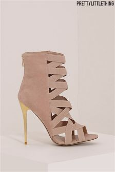 PrettyLittleThing Elastic Detail Heeled Sandals