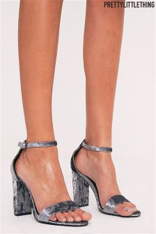 PrettyLittleThing Crushed Velvet Strap Heeled Sandals
