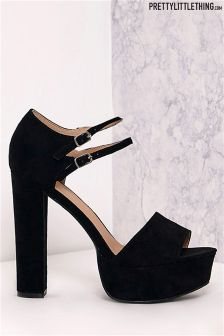 PrettyLittleThing Double Ankle Strap Platform Heels