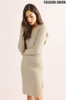 Fashion Union V neck Rib Jumper Dress