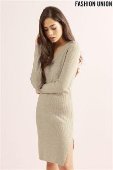 Fashion Union V neck Rib Jumper Dress