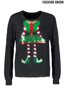 Fashion Union Novelty Sequin Elf Christmas Jumper