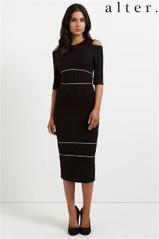 Alter Cold Shoulder Piping Pencil Dress