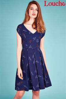 Louche V neck Bird Print Skater Dress