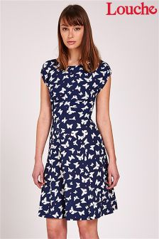 Louche Butterfly Print Tie Back Skater Dress