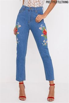PrettyLittleThing Floral Embroidered Mom Jeans